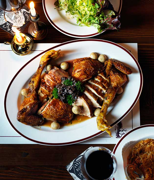 Restaurant Hubert's recipe for chicken fricassée :: Gourmet Traveller