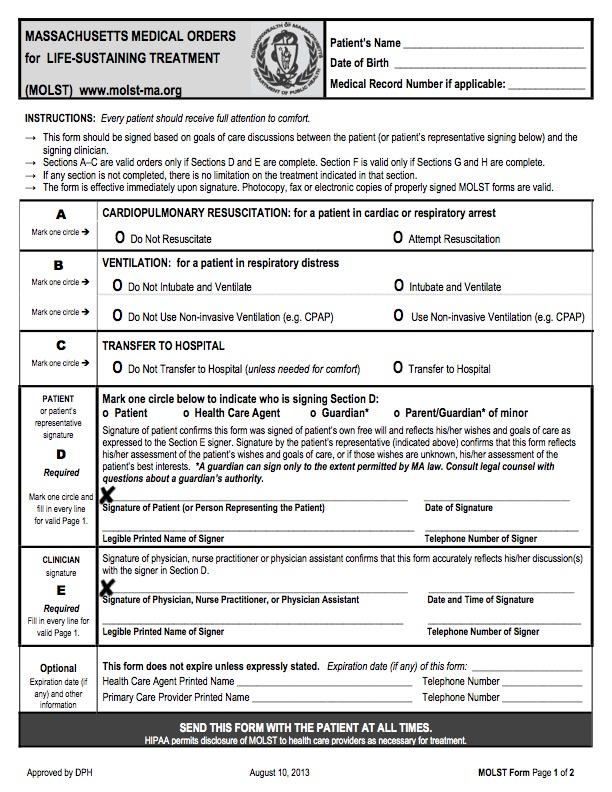The Massachusetts MOLST Form: Facts and Dangers - Massachusetts Citizens for Life