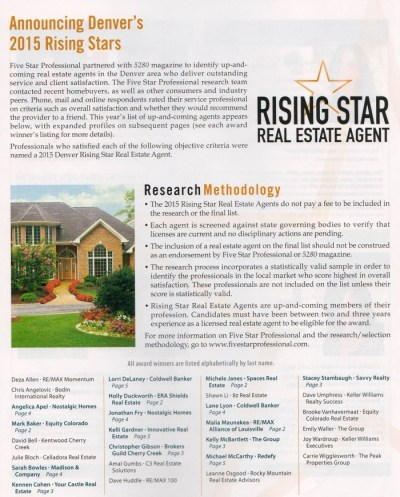 5280 Magazine Five Star Real Estate Agent - 2015 Rising Star
