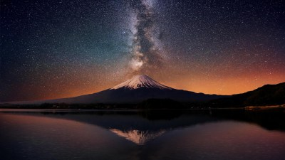 Milky way over Mt. Fuji HD desktop wallpaper : Widescreen : High Definition : Fullscreen