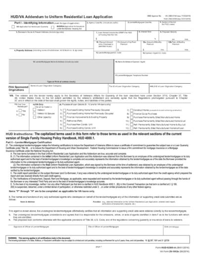Form Hud-92900-A Va Form 26-1802a Addendum To Uniform Residential Loan Application printable pdf ...