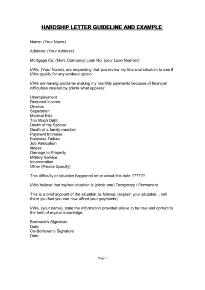 Hardship Letter Template With Guidelines printable pdf download