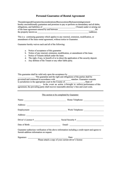 Fillable Personal Guarantee Of Rental Agreement Form printable pdf download