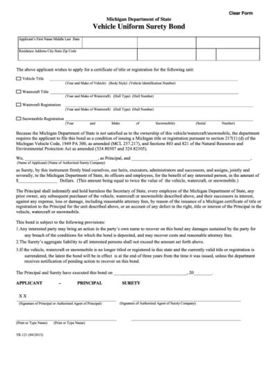 Fillable Form Tr-121 - Vehicle Uniform Surety Bond printable pdf download