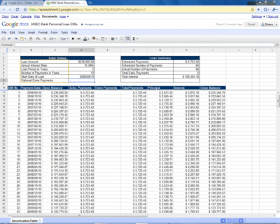 Amortization Spreadsheet With Extra Payments Google Sheets Google Spreadshee amortization ...