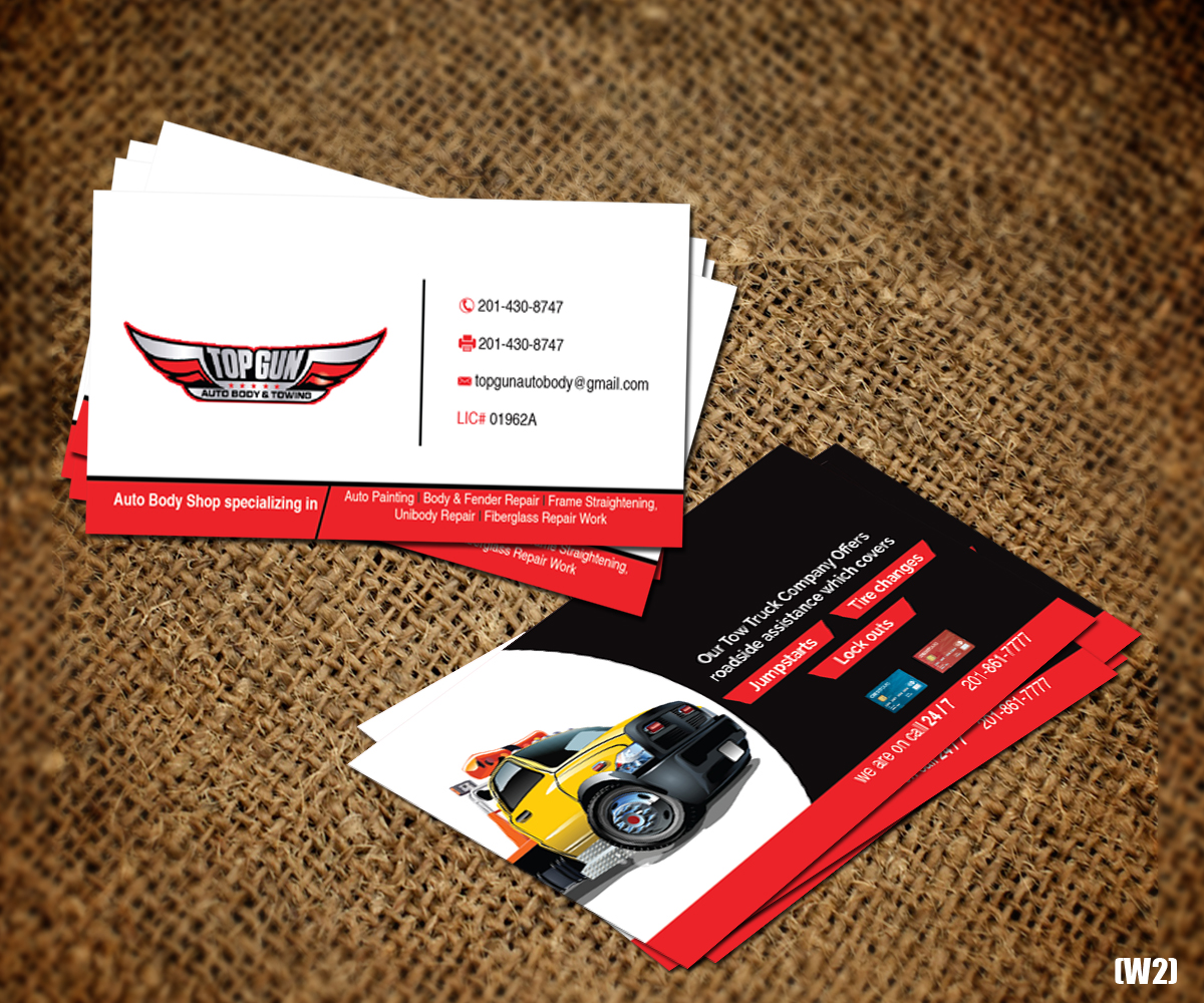 Bold  Serious  Business Business Card Design for topgun autobody and     Bold  Serious  Business Business Card Design for topgun autobody and towing  in United States   Design 17745411