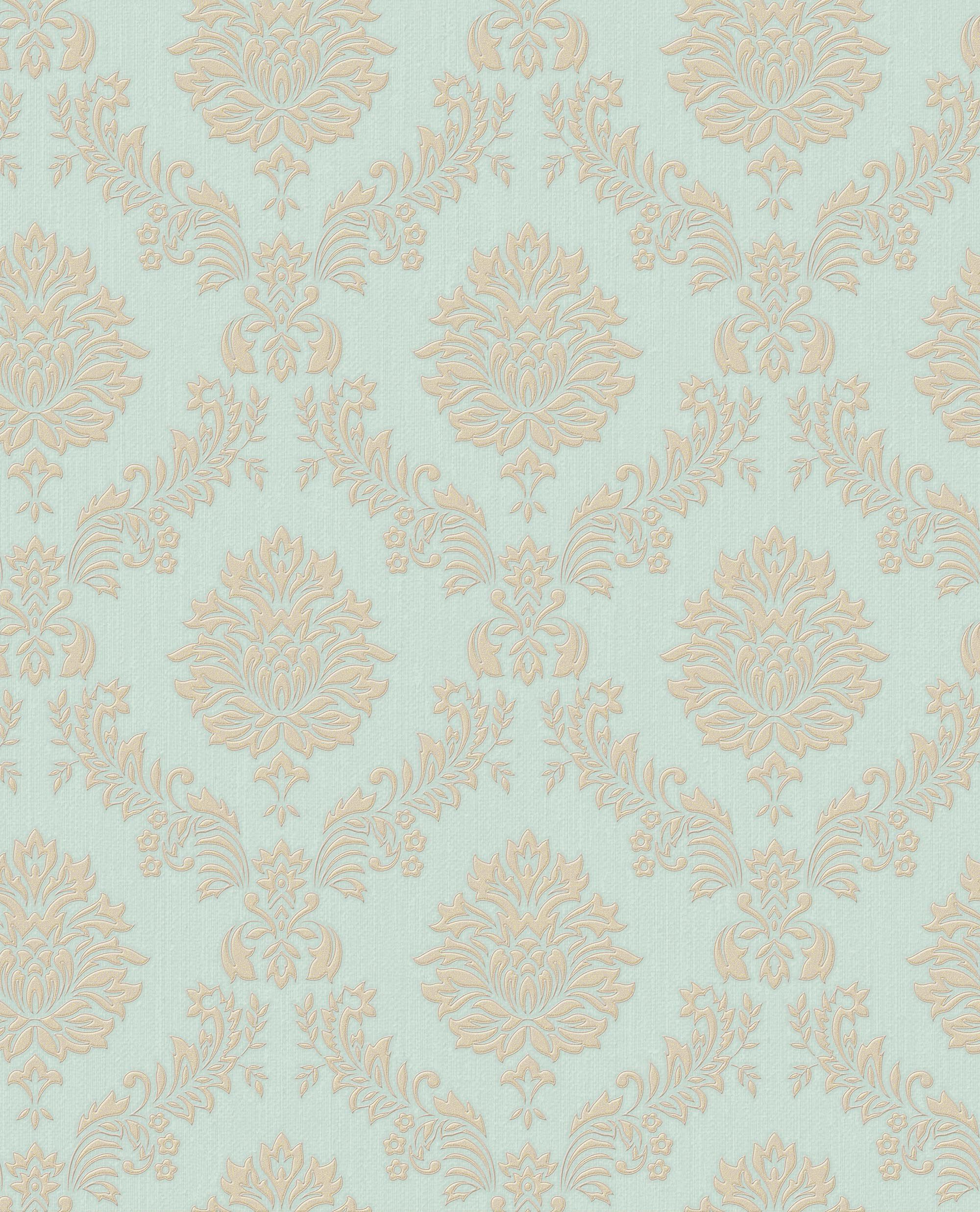 Jacquard Gold and Teal Wallpaper - GrahamBrownUS