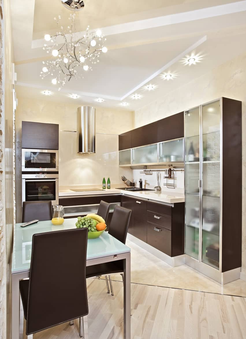 small kitchen design ideas small kitchen cabinets Small kitchen modern style with glass and wood cabinets