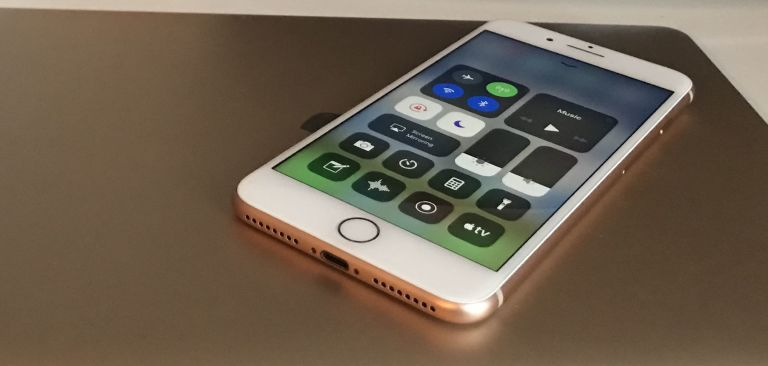 iPhone 8 Plus review     Apple s most powerful smartphone yet is the     Apple iPhone 8 Plus Control Centre with MacBook  gold