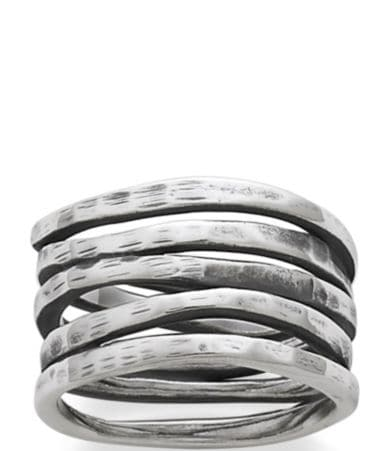 james avery wedding bands James Avery Stacked Sterling Silver Hammered Ring