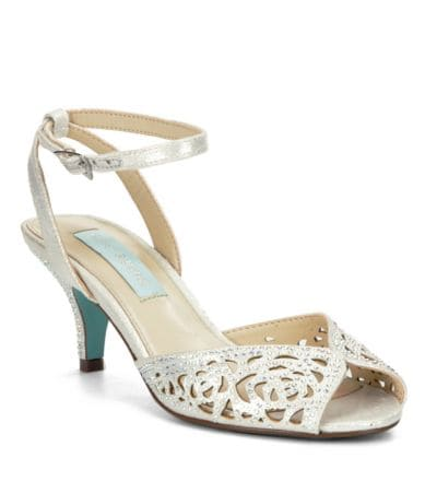 betsey johnson wedding shoes Blue by Betsey Johnson Raven Jeweled Cutout Ankle Strap Dress Sandals