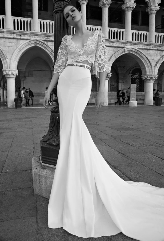 two piece wedding dress Olia Zavozina Spring Amelia two piece wedding dress tea length lace skirt and high neck