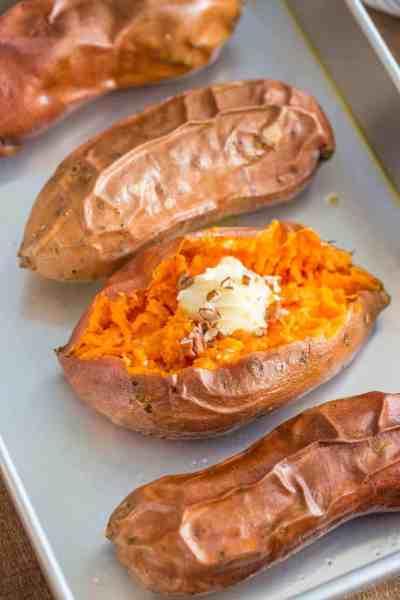 Easy Baked Sweet Potatoes - Dinner, then Dessert