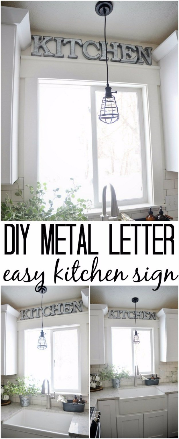 diy kitchen decor ideas diy kitchen ideas DIY Kitchen Decor Ideas DIY Metal Letter Industrial Kitchen Sign Creative Furniture Projects