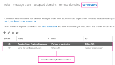 Set up connectors for secure mail flow with a partner organization | Microsoft Docs