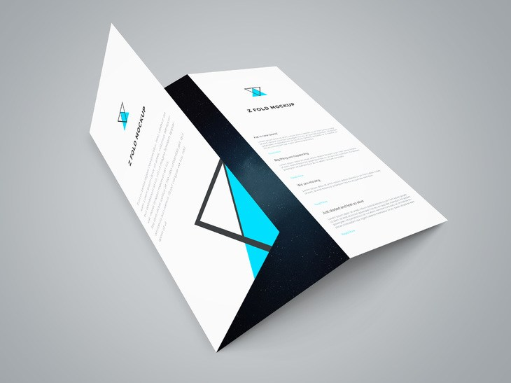 Tri Fold Brochure Mockup Template Free PSD Download   Download PSD Tri Fold Brochure Mockup Template Free PSD