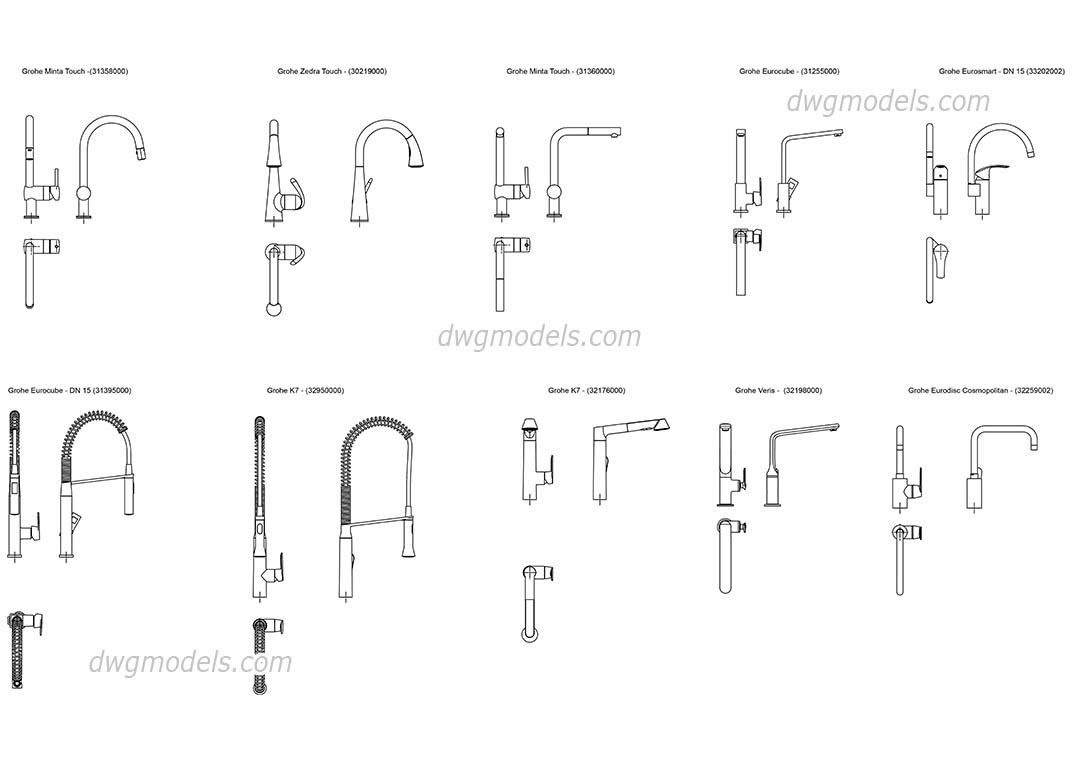 grohe kitchen faucets grohe kitchen faucet Grohe kitchen faucets dwg CAD Blocks free download