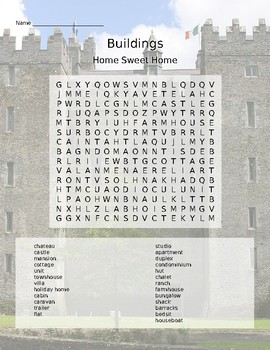 TYPES OF HOMES WORD SEARCH by Radiant Heart Publishing English Drama Library