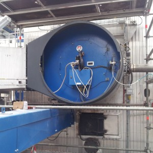 Gas natural burner of 40 MW installed in the boiler in the Saipol plant in Bassens, France | Retractable combustion heads
