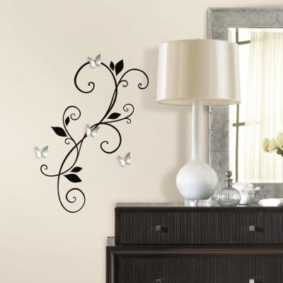 Scroll Sconce Decal with Bendable Buttefly Mirrors