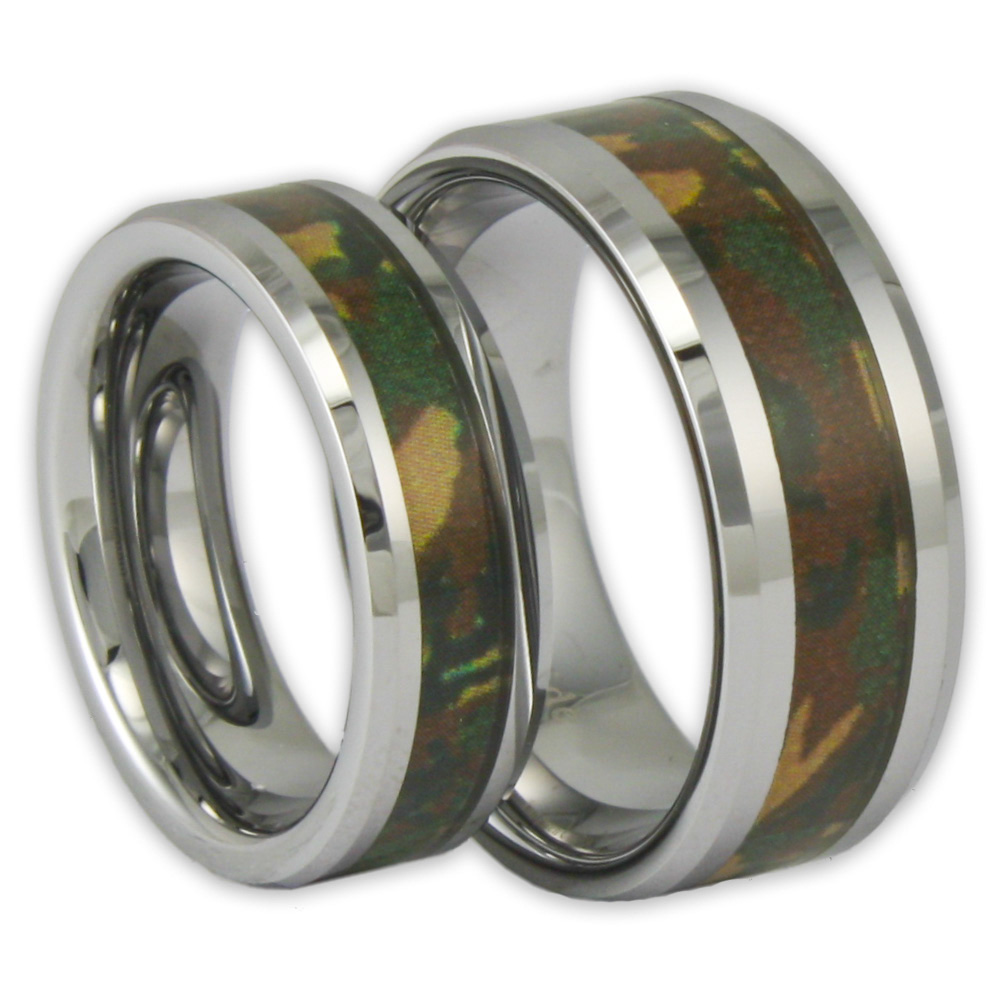 couples wedding bands Southern Sisters Designs Copy of Orange Camo Band Couples Ring Set 41 95 http