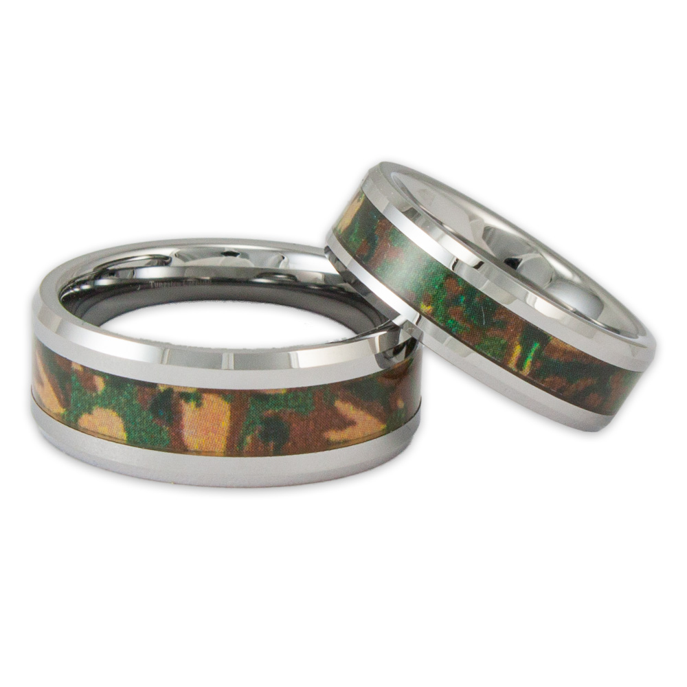 small diamond peach patterned camo wedding rings sets camo wedding band sets His And Her Carved Camo Wedding Rings Full Size