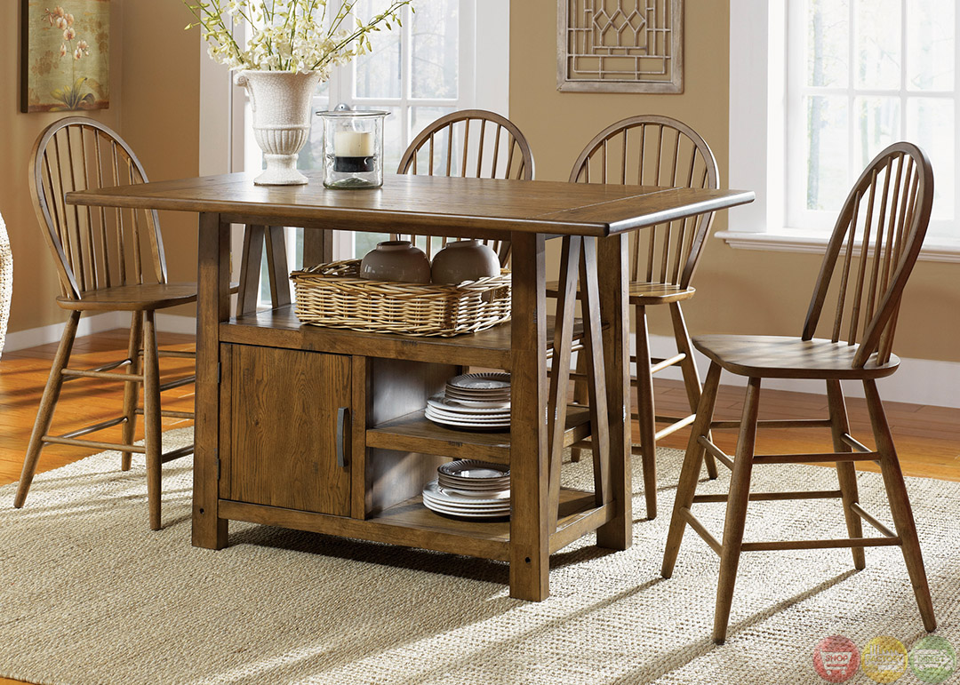 farmhouse counter height storage table casual dining set farmhouse kitchen table sets Farmhouse Counter Height Storage Table Casual Dining Set