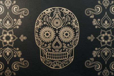 Macabre Wall Art – 'Day of the Dead' Skull Wallpaper – Eat Your Heart Out