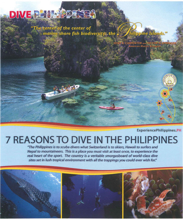 Philippine Department of Tourism   Brochures 7 Reasons to Dive in the Philippines A collective overview of 7 of the many  reasons why the Philippines should be your next Dive Destination