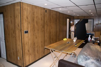 Using Paintable Wallpaper to Cover Wood Paneling - Super NoVA Adventures