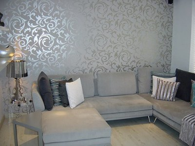 Elegant Grey Wallpaper Living Room   Post on Brunch at Saks …   Flickr - Photo Sharing!