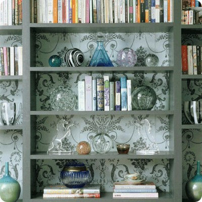 patterened wallpaper bookshelves | Wallpaper behind or appli… | Flickr - Photo Sharing!