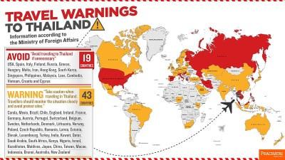 [Infographic] Travel warnings to Thailand   Prachatai English