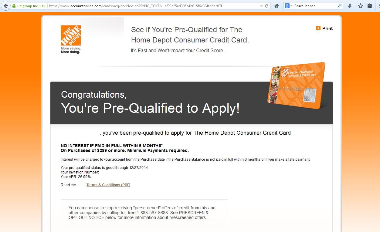 Home Depot Prescreen link? - myFICO® Forums - 3550631