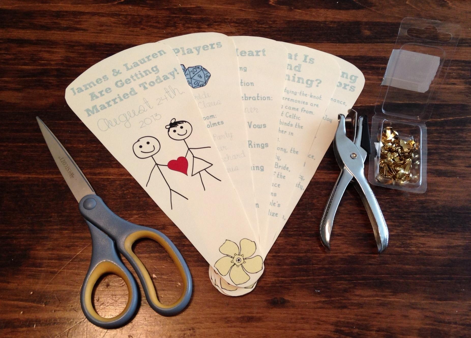 program fans for summer weddings diy wedding fans
