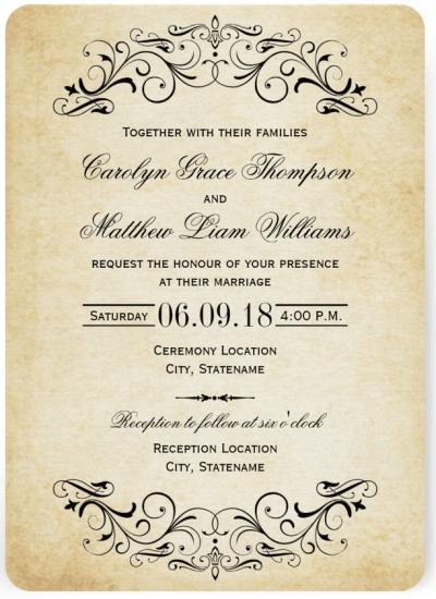 Vintage Wedding Invitation Featuring Flemish Script Font