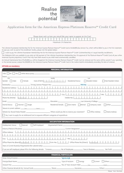 American Express Platinum Credit Card Application - PDF Form Download