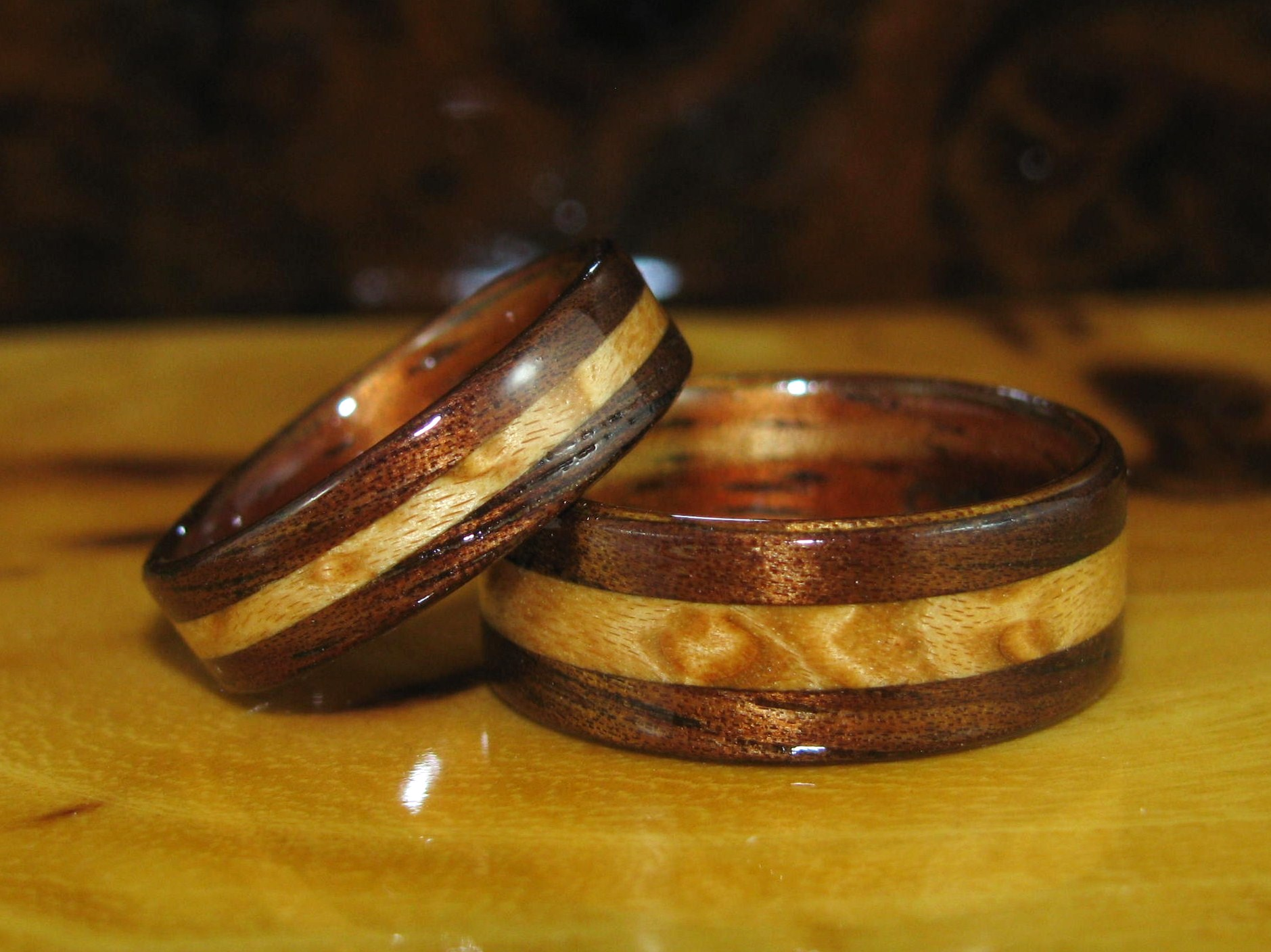 tungsten matching wedding band set matching bands his hers engagement ring set two tone bands flat shaped comfort fit 6mm 8mm 1 koa wedding bands Tungsten Matching Wedding Band Set Hawaiian Koa Wood Matching Bands His Hers