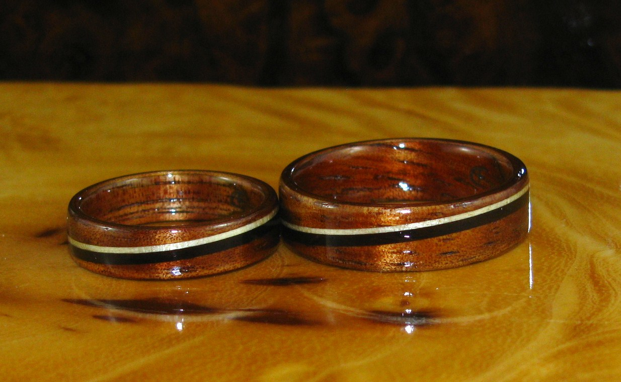 wedding bands african wedding bands Mid toned Hawaiian Koa rings with African