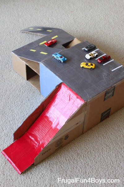 Cardboard Box Hot Wheels Car Garage with Ramps     Frugal Fun For Boys     Hot Wheels Car Cardboard Box Garage with Ramps