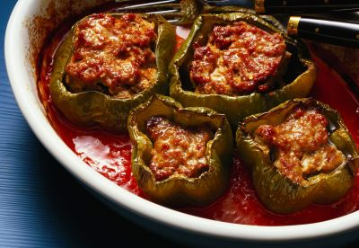 Slow Cooker Stuffed Peppers With Ground Beef