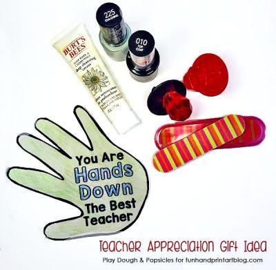You Are 'Hands' Down The Best Teacher Mason Jar Gift with Printable Card - Fun Handprint Art