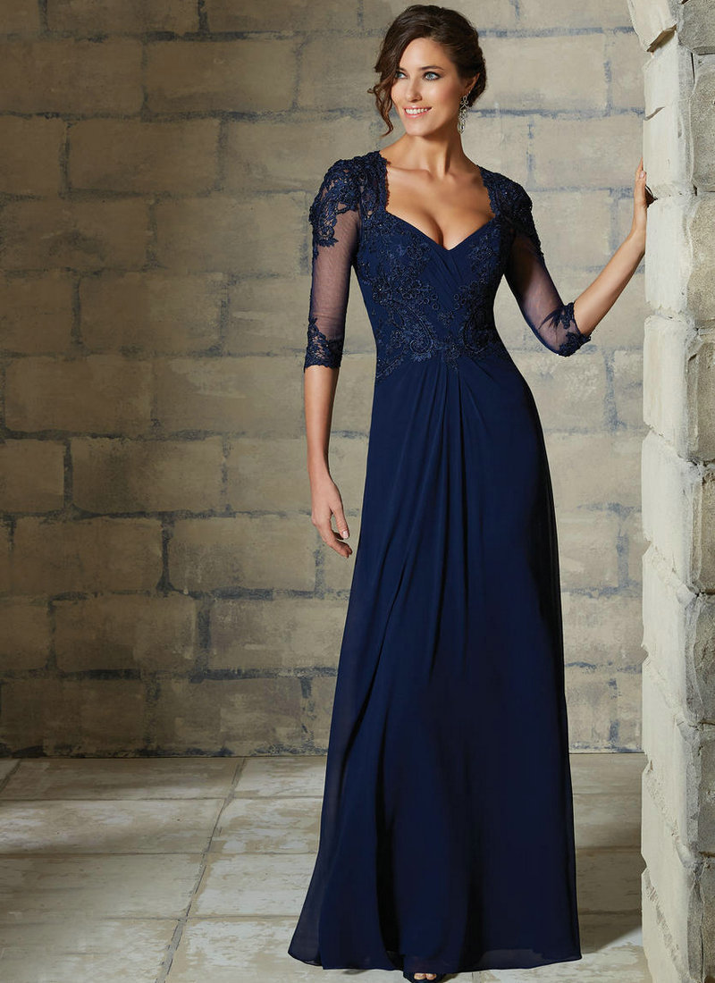 long blue chiffon bridesmaid dresses navy blue wedding dress Navy Blue Chiffon Bridesmaid Dress 1 Dressizer