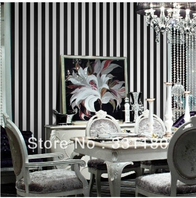 Black and white Vertical stripes wallpaper roll paper wall living room Bedroom bathroom ...