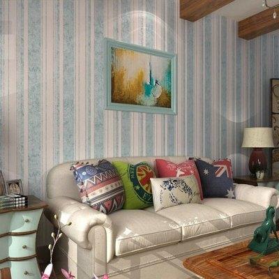 Flock Classic stripe wall paper blue background wall wallpaper for living room striped wallpaper ...