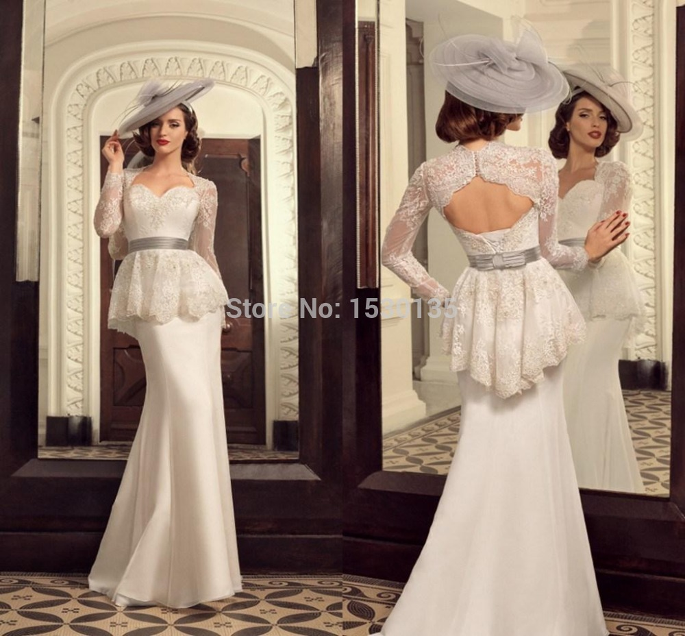 A Line Tulle Tank Peplum Wedding Dress With Low Back pid peplum wedding dress Peplum Wedding Dress With Low Back Mouse Over To Zoom Or Click To Enlarge
