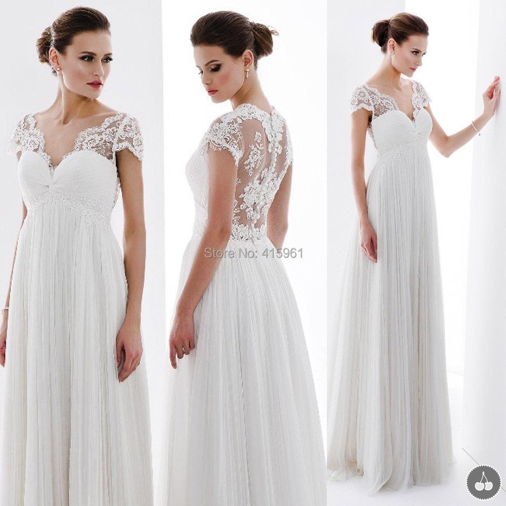 wedding dress bridal gown pregnancy wedding dresses Simple V Neckline Pregnancy Bridal Gown F