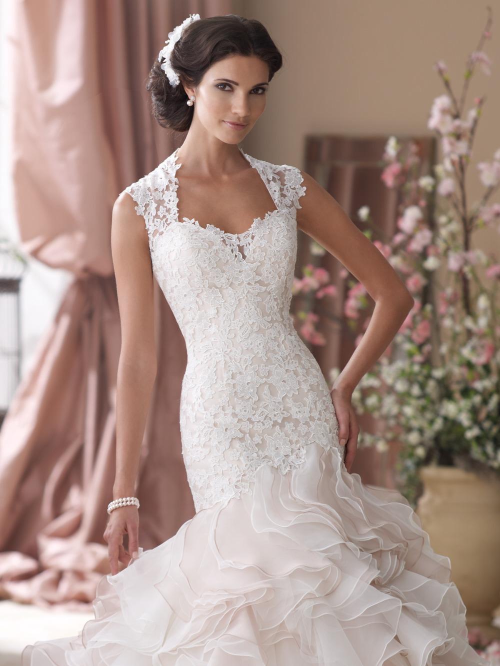 ruffle mermaid wedding gown ruffle wedding dress Satin And Lace Sweetheart Court Train Mermaid Wedding Dress With Crystal