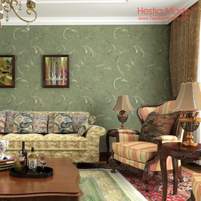 Non woven wallpaper American Antique Style Dark Green wallpaper for Living room Bedroom wall ...