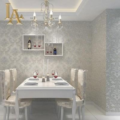 European Simple Luxury Beige Grey 3D Damask Wallpaper Living room Bedroom Modern Design Nonwoven ...